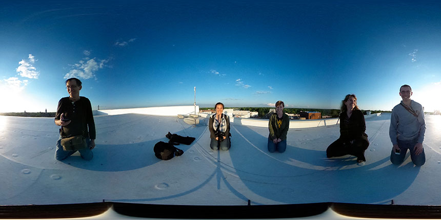 Dr. Joel Beeson (l-r), Emily Pelland, Erin Irwin, Mary Kay McFarland test shoot a spherical image on top of Trapper's building in Selma, Al. on April 29, 2015.