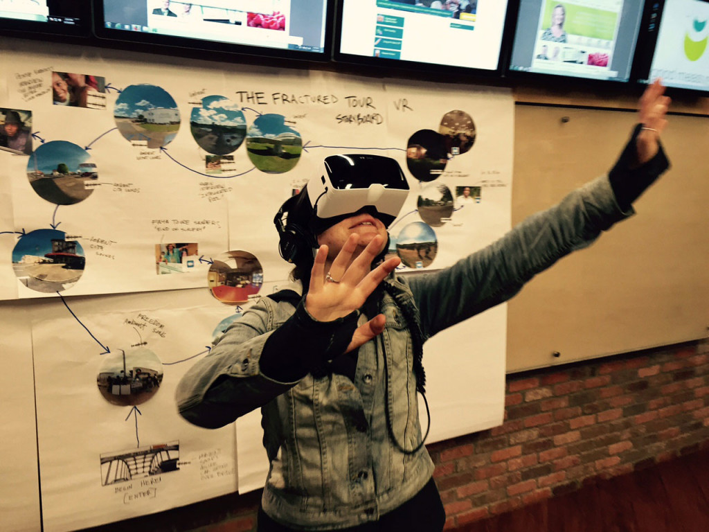 Emily Pelland uses the Zeiss VR 1 headset as part of the storyboarding process to consider experiential cues and navigation strategies for VR.